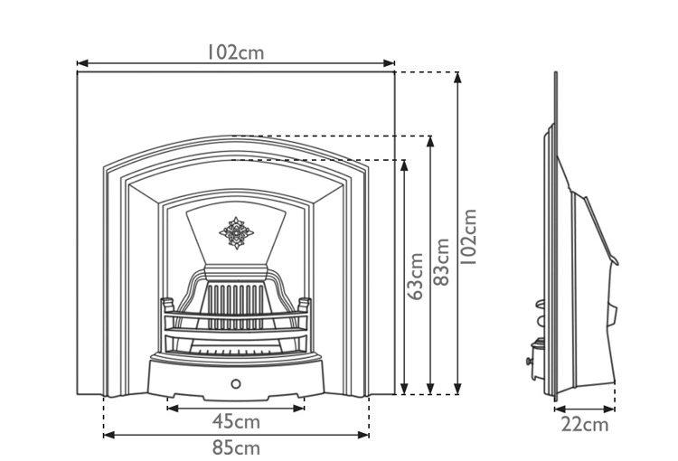 London Plate fireplace insert measurements