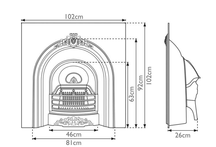 Prince fireplace insert measurements