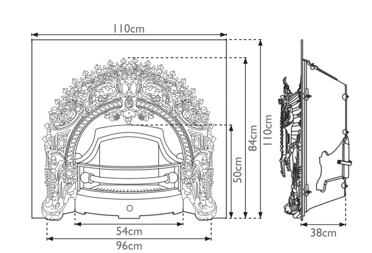 Rococo cast iron fireplace insert measurements
