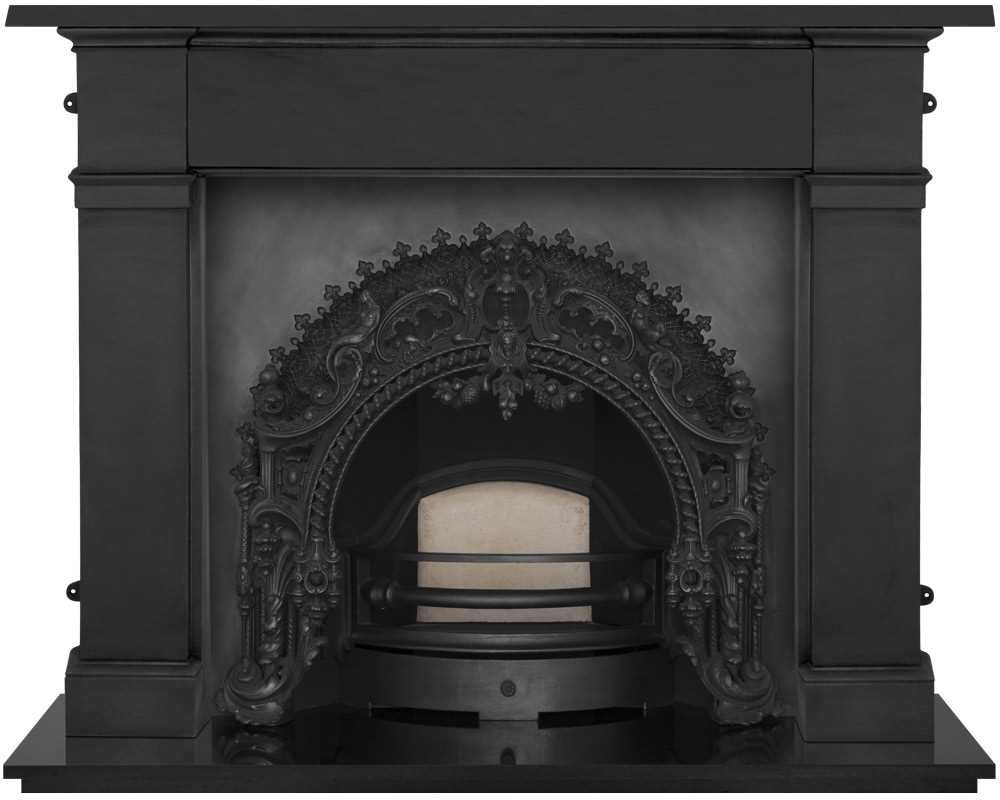 Rococo cast iron fireplace insert in black with cast iron surround