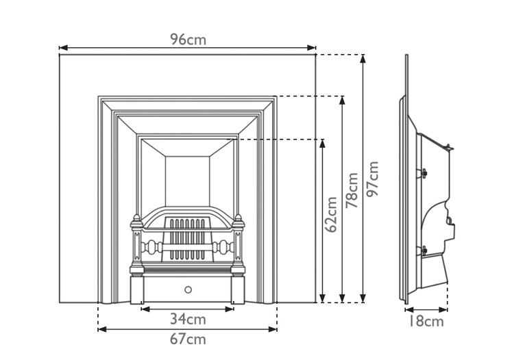 Royal fireplace insert with narrow opening measurements