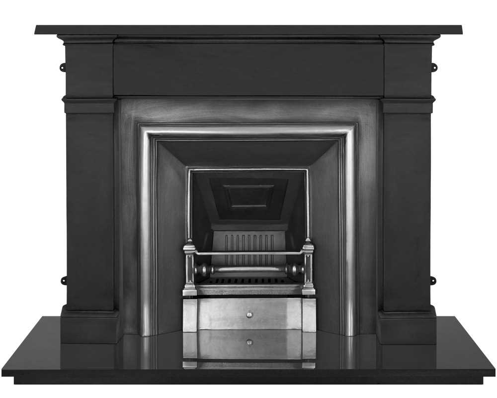 Royal cast iron fireplace insert in highlight polish with surround