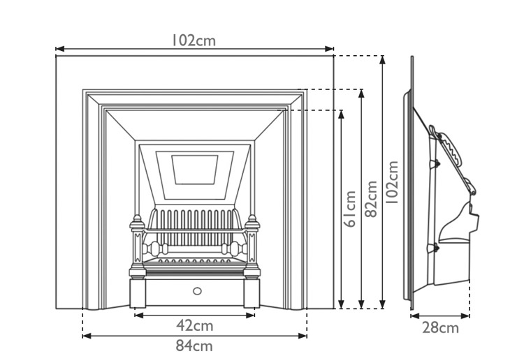 Royal cast iron fireplace insert measurements