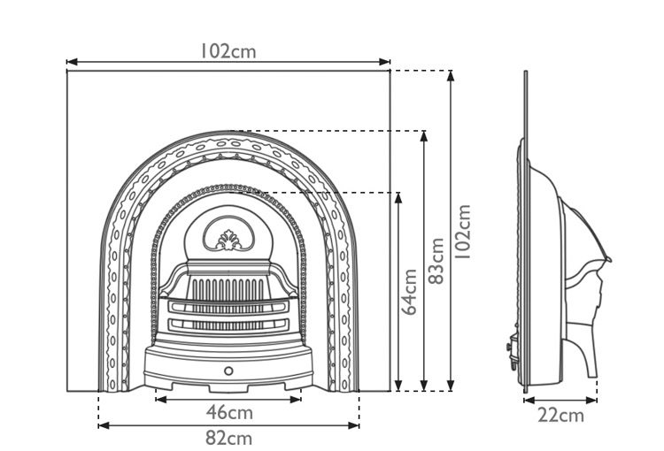 Scotia cast iron fireplace insert measurements