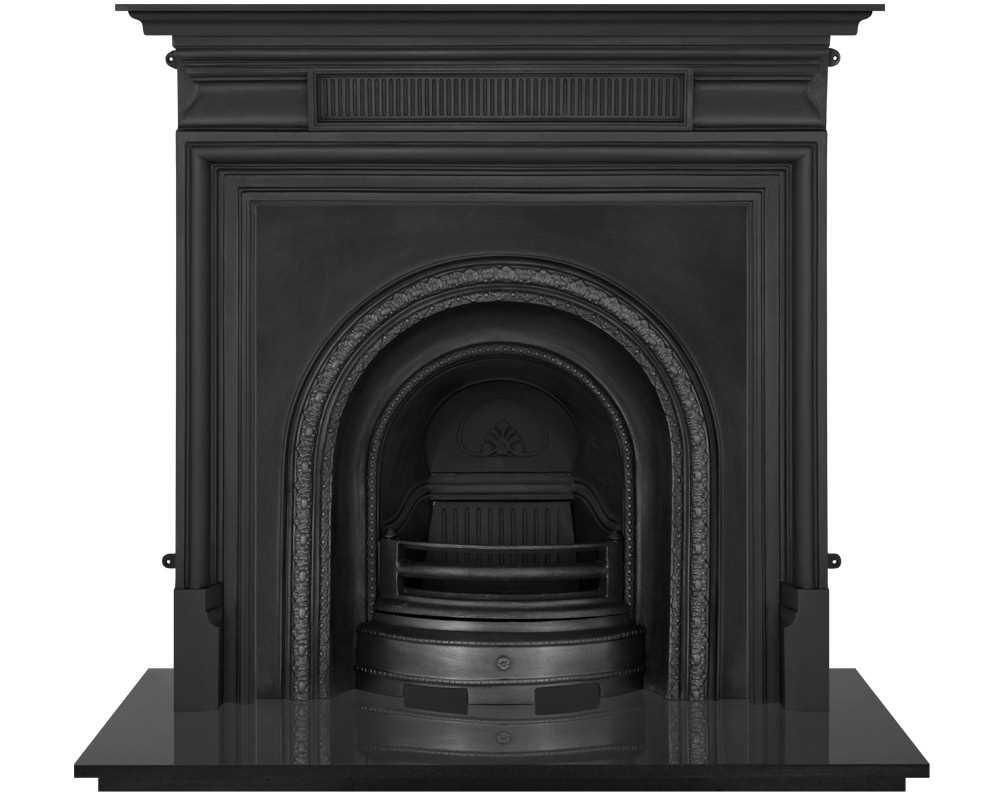 Scotia cast iron fireplace insert in black finish with cast iron surround