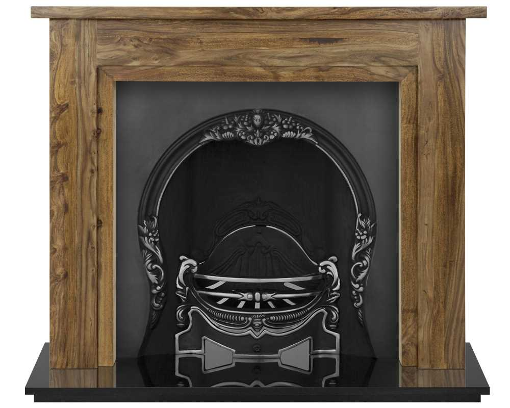 Tiffany fireplace insert in highlight polish with solid wood surround