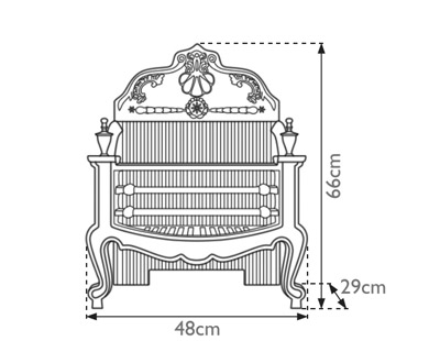 Dorchester cast iron fire basket measurements