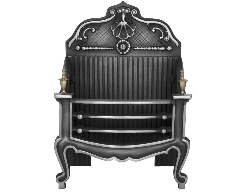Dorchester cast iron fire basket in highlight polish