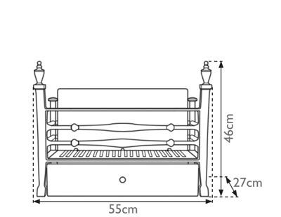 Georgian cast iron fire basket measurements