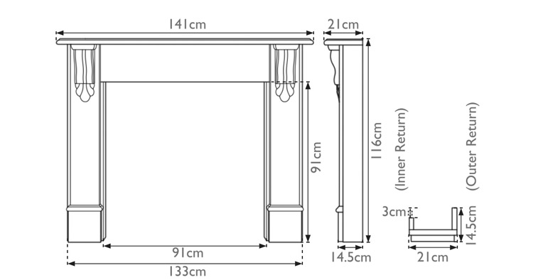 Edinburgh Corbel wooden fire surround measurements