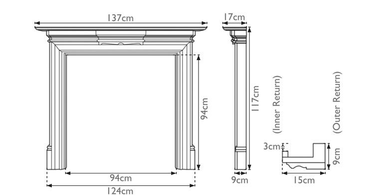 Grand wooden fire surround measurements