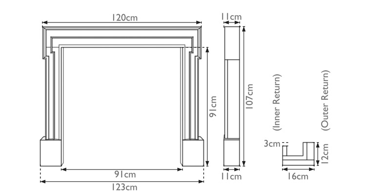 Palladio wooden fire surround measurements
