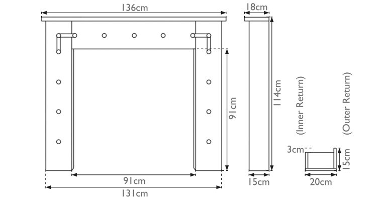 Thaket wooden fire surround measurements