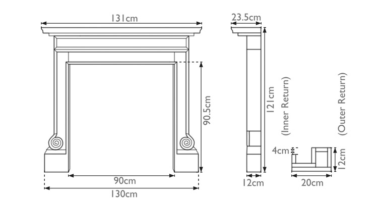 Volute wooden fire surround measurements