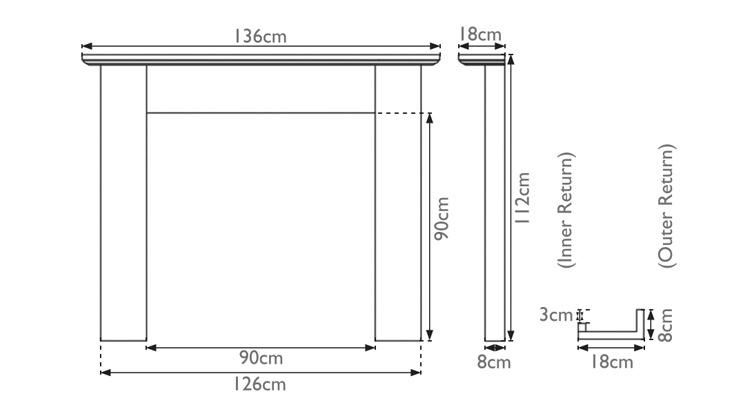 Wexford wooden fire surround measurements
