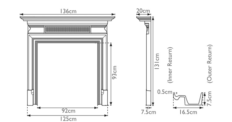 Belgrave cast iron fire surround measurements