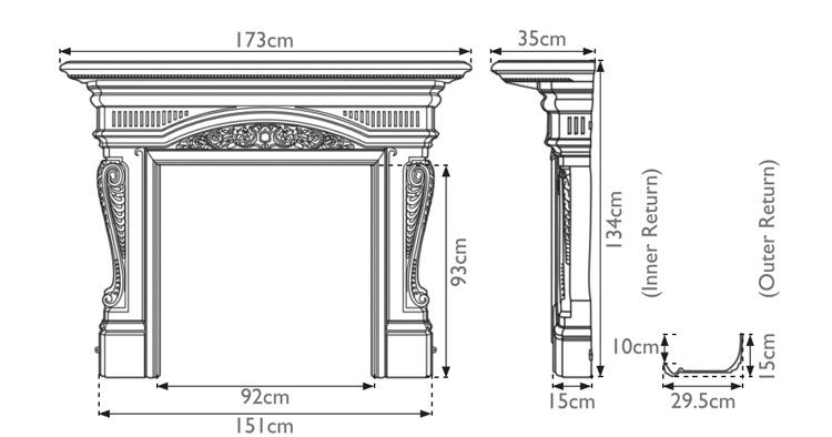Buckingham cast iron fire surround measurements