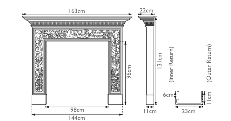 Mayfair cast iron fireplace surround measurements