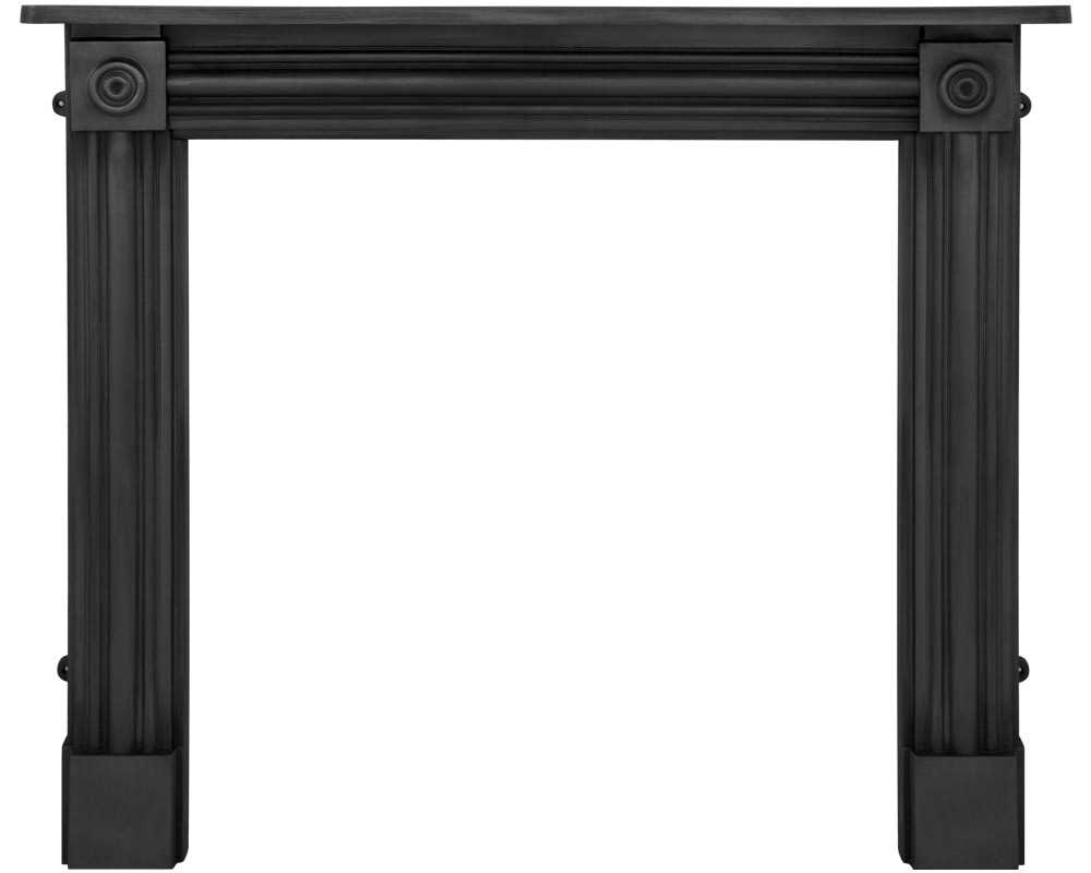 Regent cast iron fireplace surround in black finish