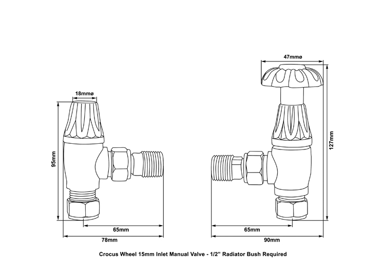 Crocus manual Chrome radiator valve measurements