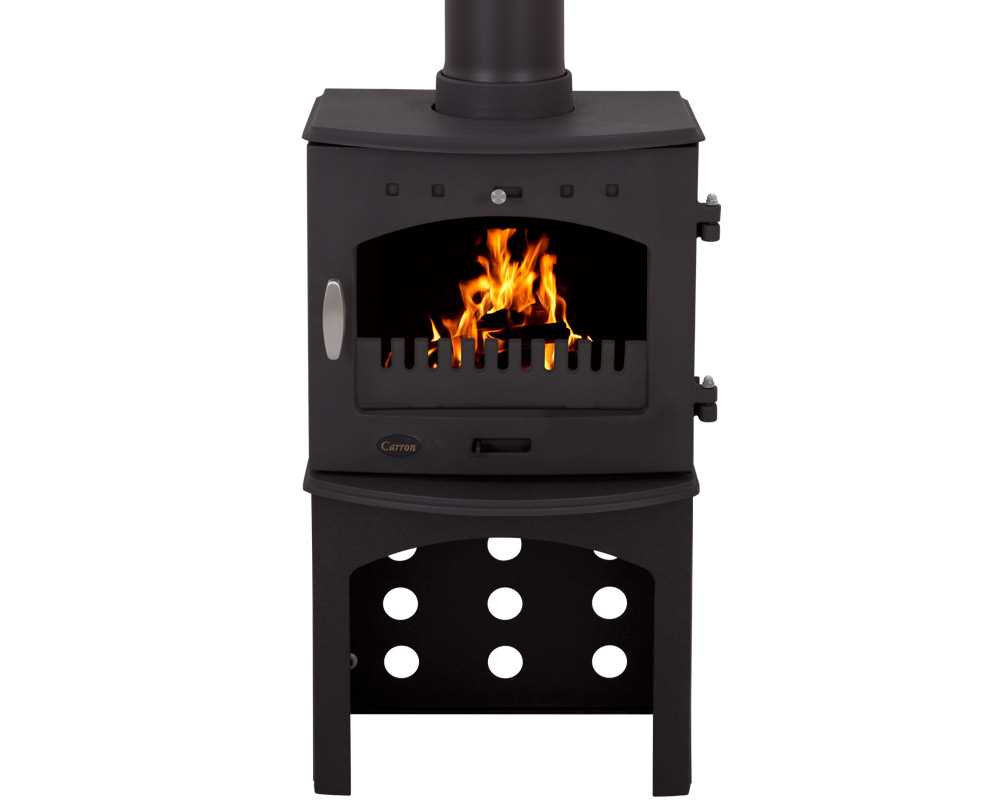 cast iron stove log store in matt black finish