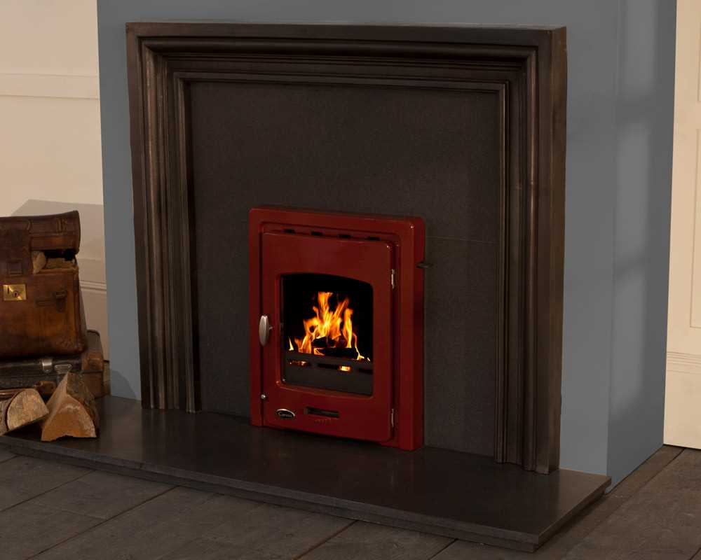Darwin inset cast iron stove red enamel