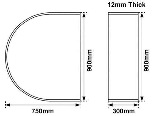 curved glass stove hearth measurements