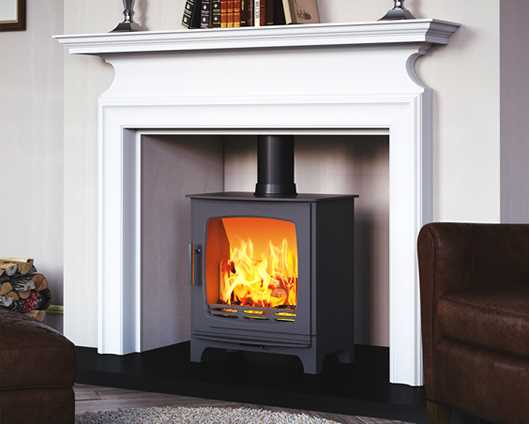 Carron eco revolution matt black stove with white surround