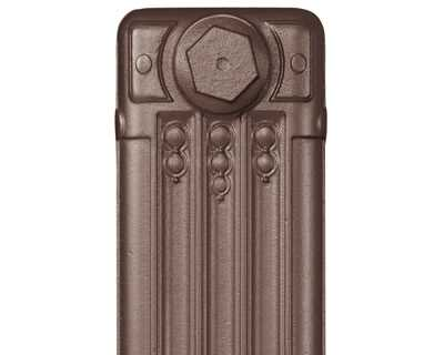 Deco cast iron radiator section in Roberson blackened bronze