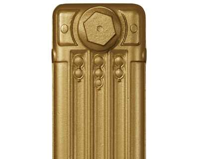 Deco cast iron radiator section in Roberson brass