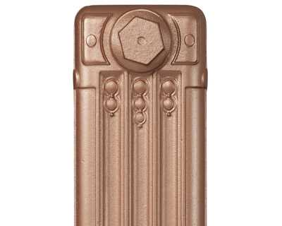 Deco cast iron radiator section in Roberson bronze