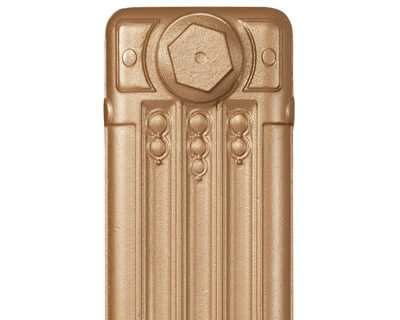 Deco cast iron radiator section in Roberson classic gold
