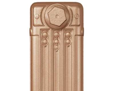 Deco cast iron radiator section in Roberson fine gold