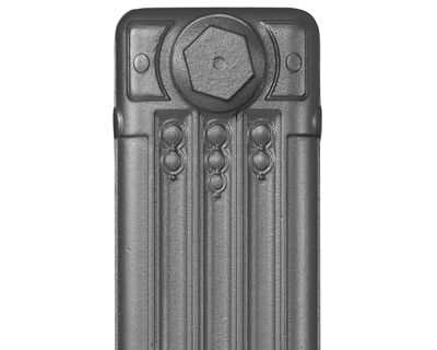 Deco cast iron radiator section in Roberson graphite