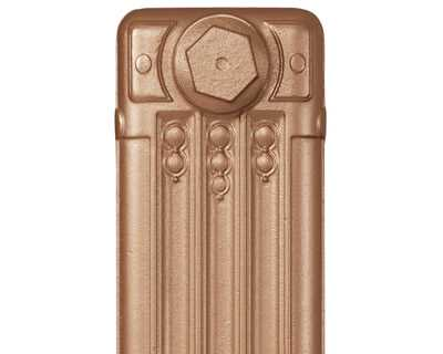 Deco cast iron radiator section in Roberson imperial gold