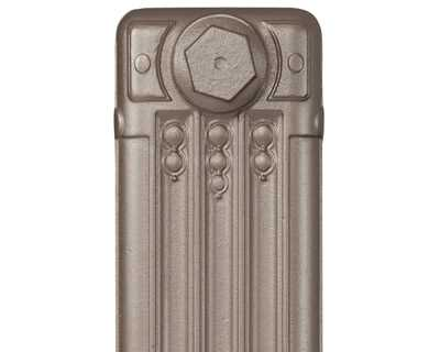Deco cast iron radiator section in Roberson old silver