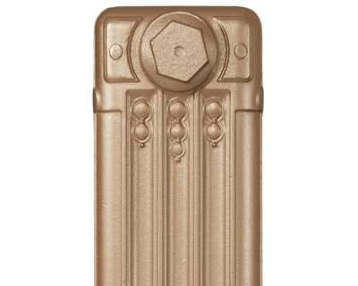 Deco cast iron radiator section in Roberson pale gold