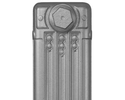 Deco cast iron radiator section in Roberson pewter