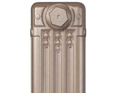 Deco cast iron radiator section in Roberson renaissance gold
