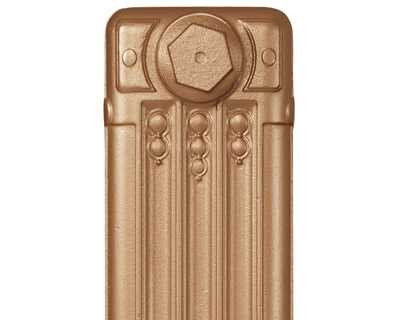 Deco cast iron radiator section in Roberson rich gold