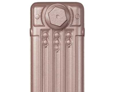 Deco cast iron radiator section in Roberson silver blush