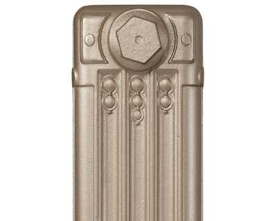 Deco cast iron radiator section in Roberson silver verde