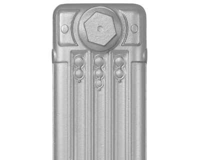 Deco cast iron radiator section in Roberson solid silver
