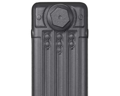 Deco cast iron radiator section in Roberson steel grey