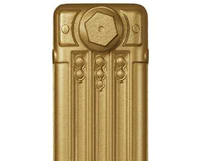 Deco cast iron radiator section in Roberson yellow gold