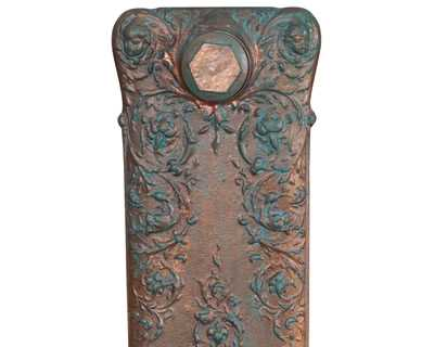 Verona cast iron radiator section in copper leaf verdi gris