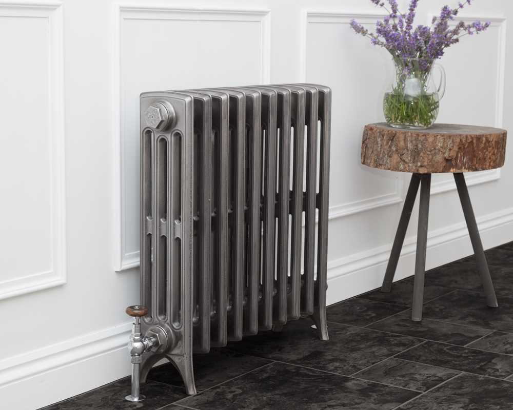 Rathmell cast iron radiator setting show in hand burnished finish